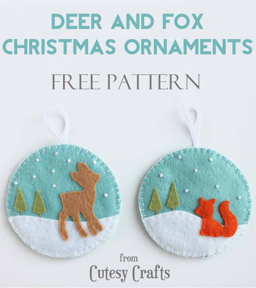 Felt deer and fox christmas ornament