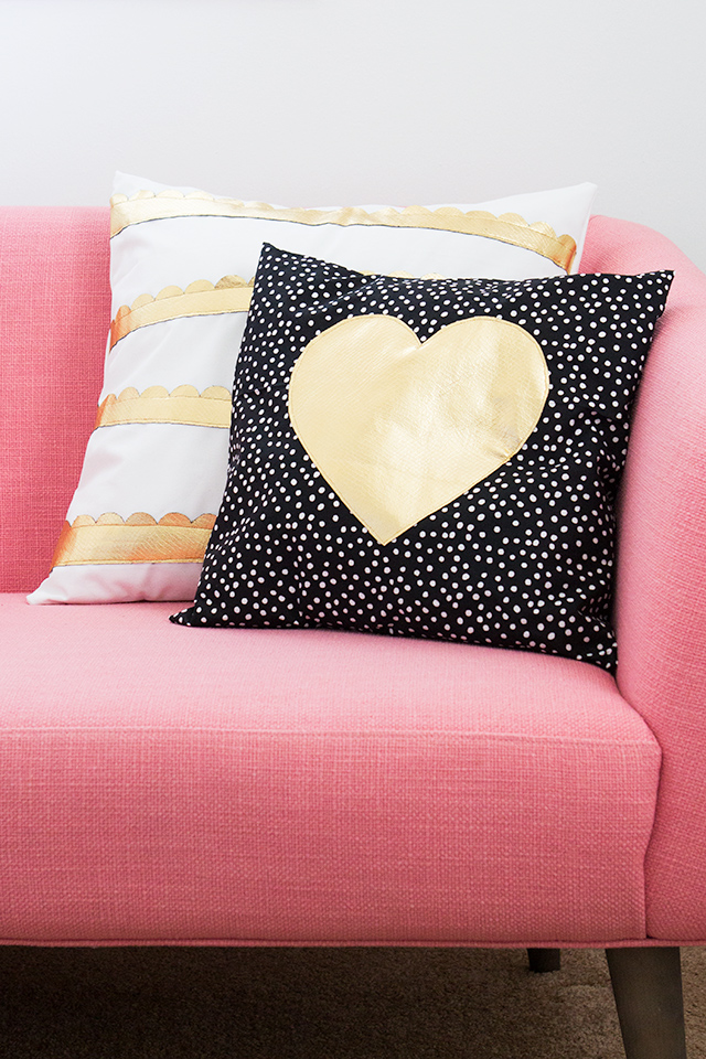 Golden heart pillow
