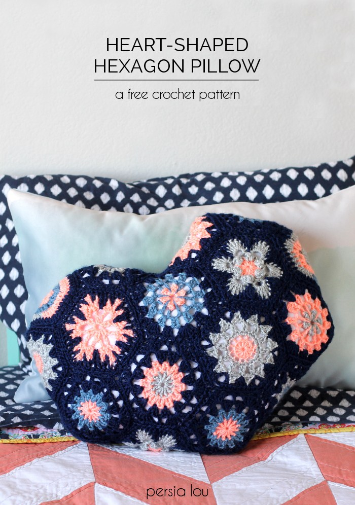 Heart hexagon crochet pillow