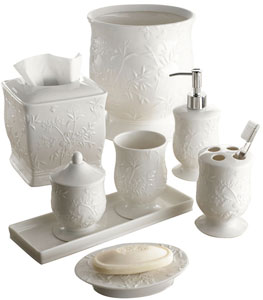 Butterfly bath accessories from abchome for Cream bathroom accessories set