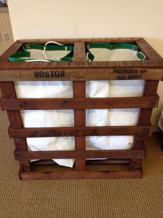 Pallets laundry room storage