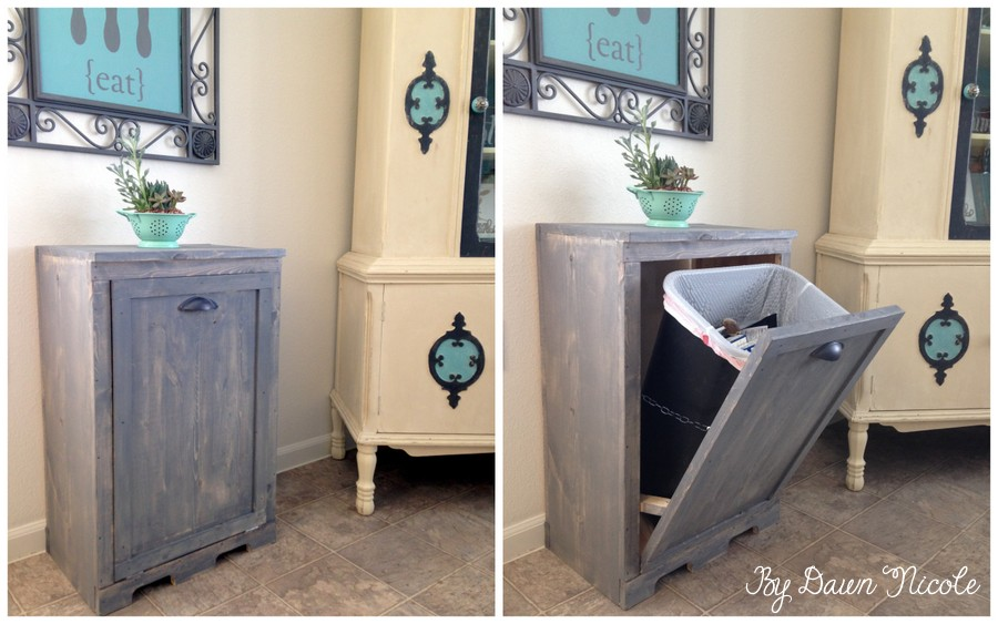 Trash cabinet for laundry room