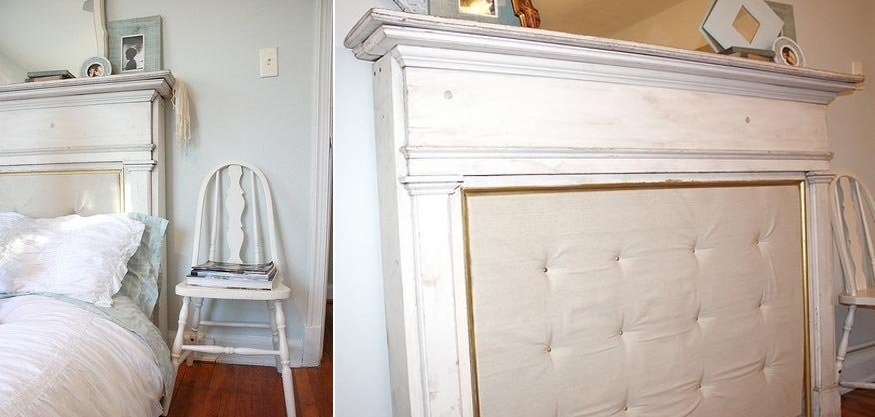 Turn a fireplace mantel into a headboard