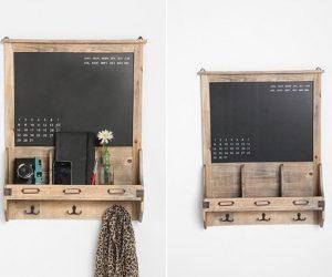 Vintage wood chalkboard calendar