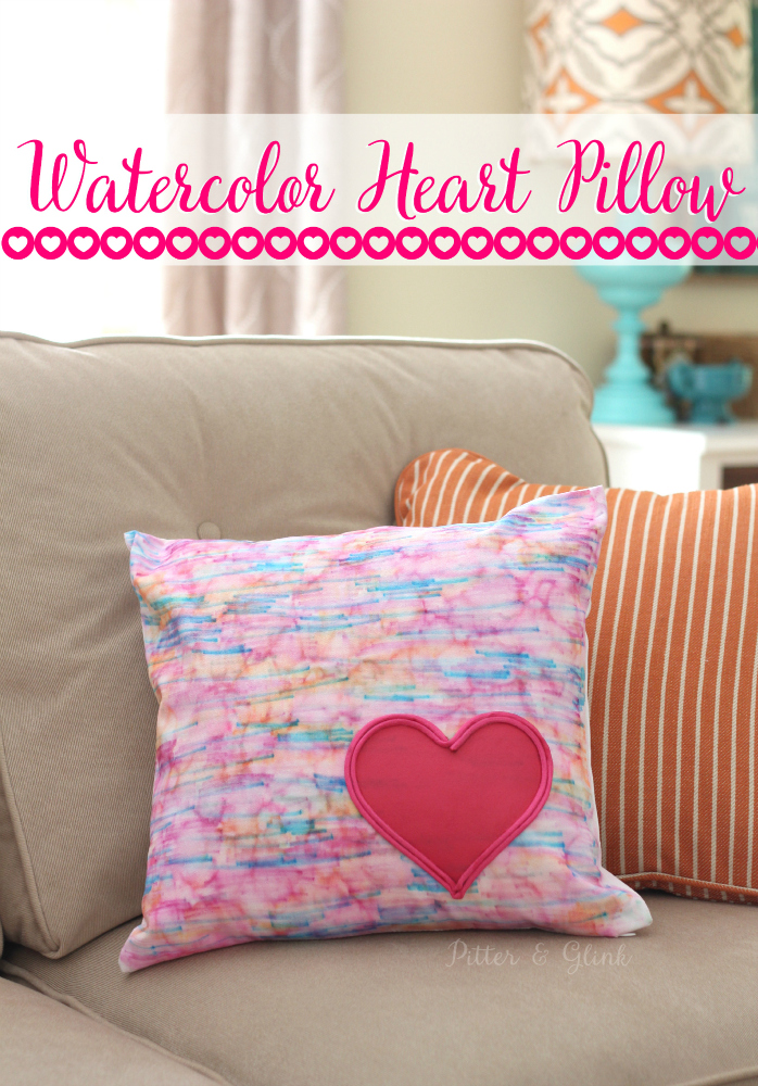 Watercolor heart pillow