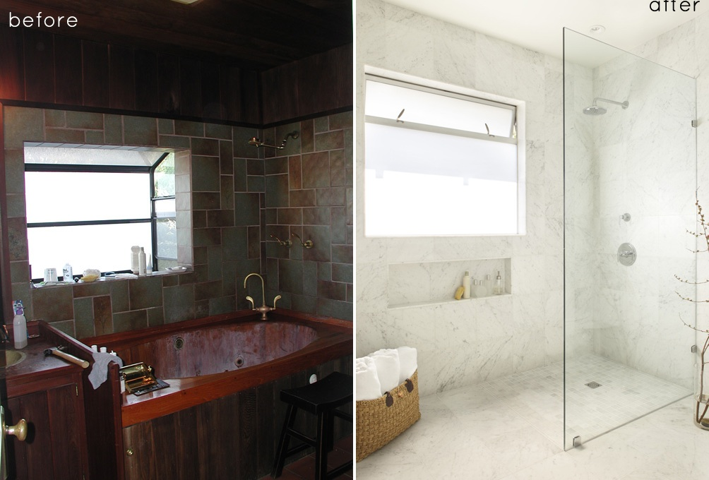 Before and after small bathroom makeovers big on style for Before and after small bathroom makeovers
