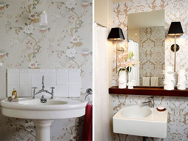 How to add elegance to a bathroom with wallpapers for Wallpaper trends for bathrooms