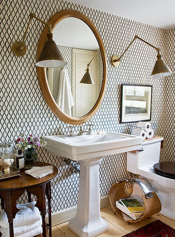 How to add elegance to a bathroom with wallpapers for Bathroom decorating ideas wallpaper