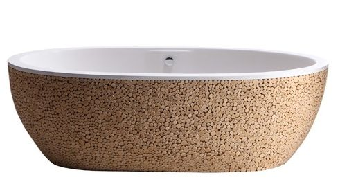 Baignoire Stone Pixel Tub – a nature inspired wood finish bathtub by Bleu Nature