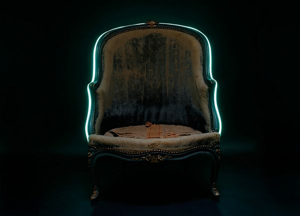 Captivating Chair Adorned With A Turquoise Neon