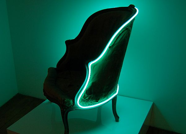 chair adorned with a turquoise neon
