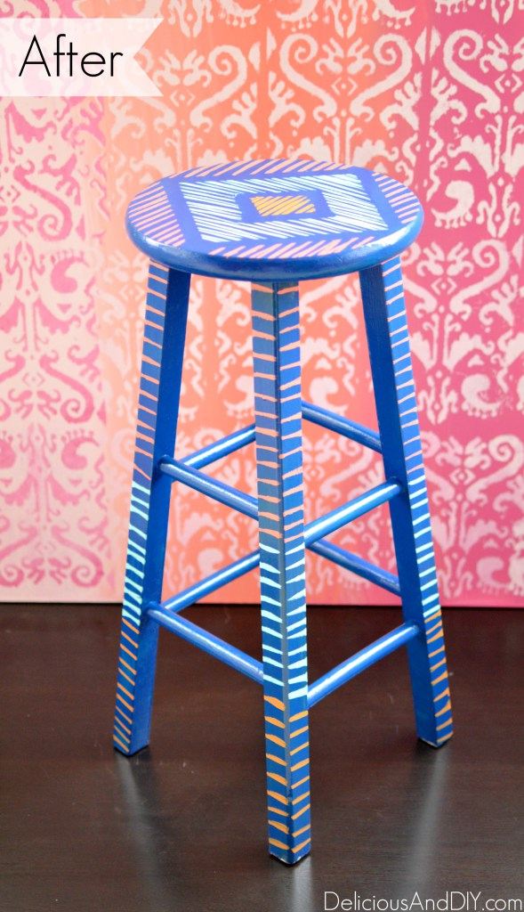 brush stroke art stool