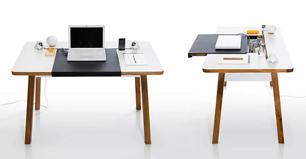 This is a simple but very practical and functional desk with a design  created particularly for such spaces. It features a sliding desktop surface  that hides ...