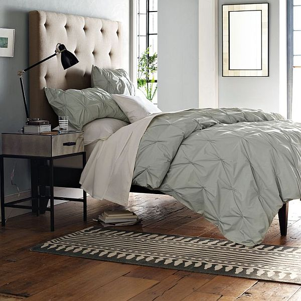 Cream Tufted Linen Larkspur Bed · View In Gallery