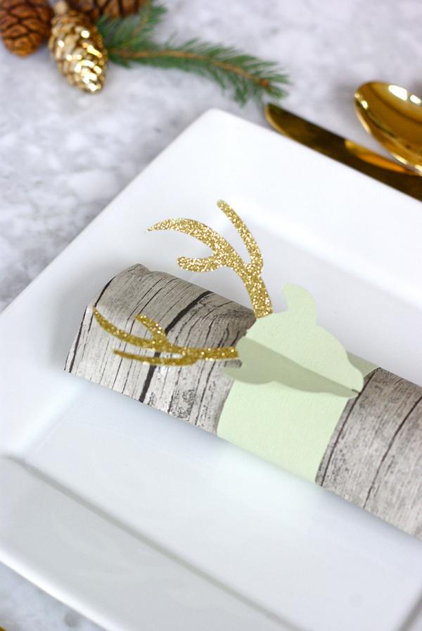 glittered deer napkin rings