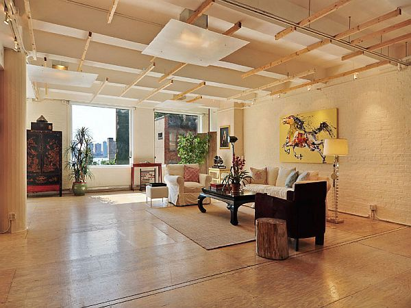 Spacious new york loft with an industrial d cor for New york style curtains