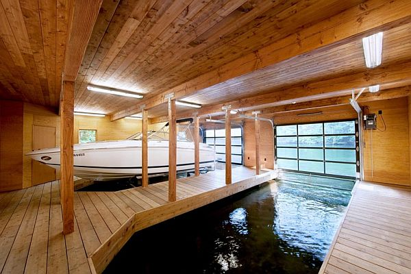 Simple Warm Design Boathouse In Ontario