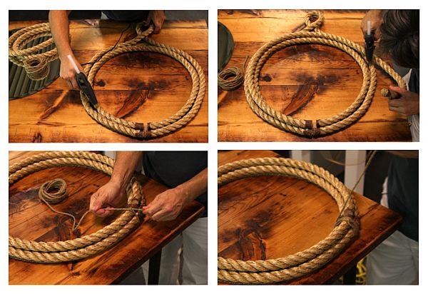 25 diy ways of using rope for a vintage look for Como colgar un espejo sin marco