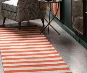 Dwell studio draper stripe persimmon cream wool rug