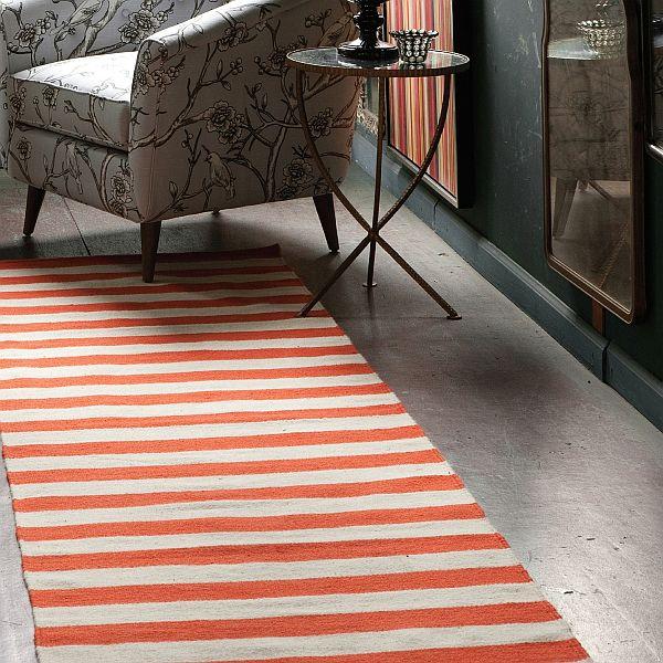 Exceptional Dwell Studio Draper Stripe Persimmon Cream Wool Rug Photo