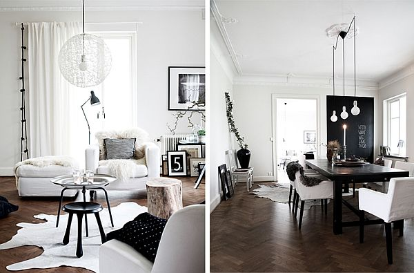 Simple black and white scandinavian interior in b w for Scandinavian interior