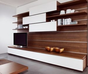 The sectional wooden storage Tosai wall unit