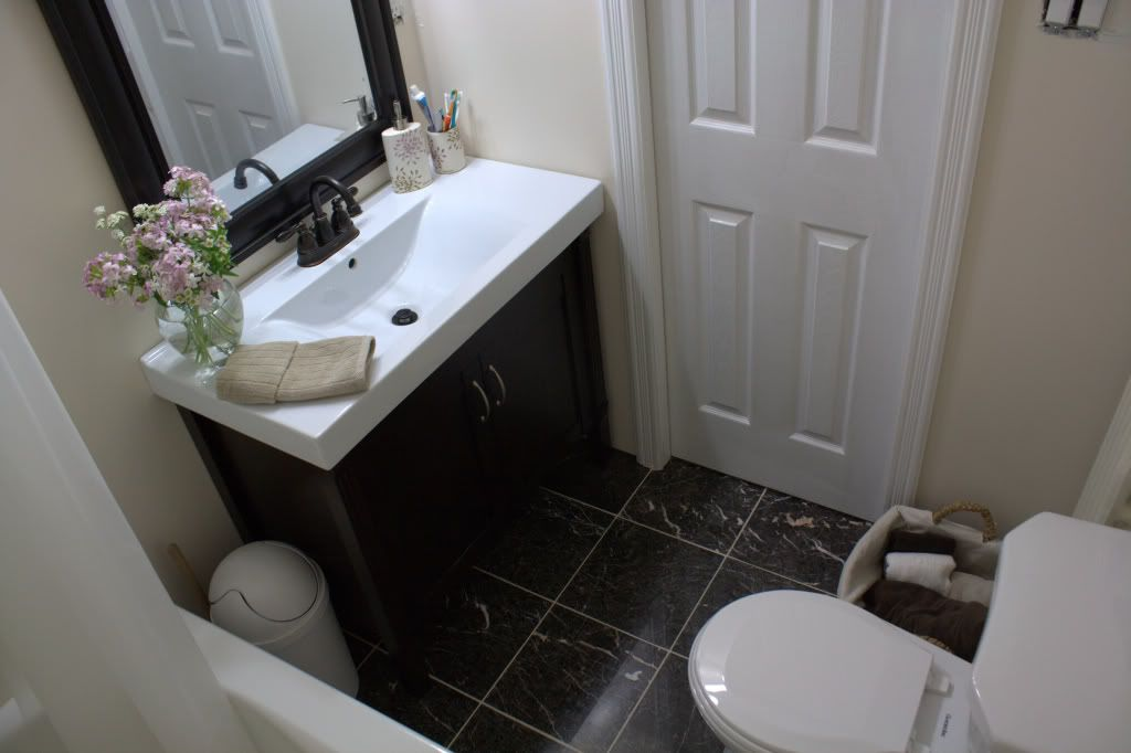 Before and after small bathroom makeovers big on style for Bathroom photos for small bathrooms