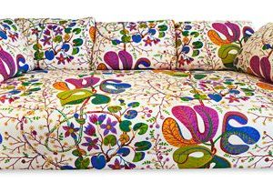 Comfortable and colorful sofa designed by Josef Frank