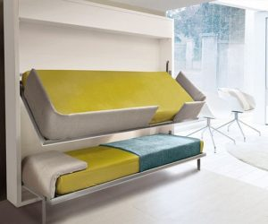 The innovative Lollisoft bunk pull-down bed by Giulio Manzoni