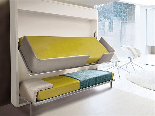 The innovative Lollisoft bunk pulldown bed by Giulio Manzoni