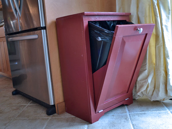 tilt out wood trash cabinet