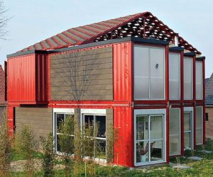 A two story house made of eight shipping containers with a modern interior  design