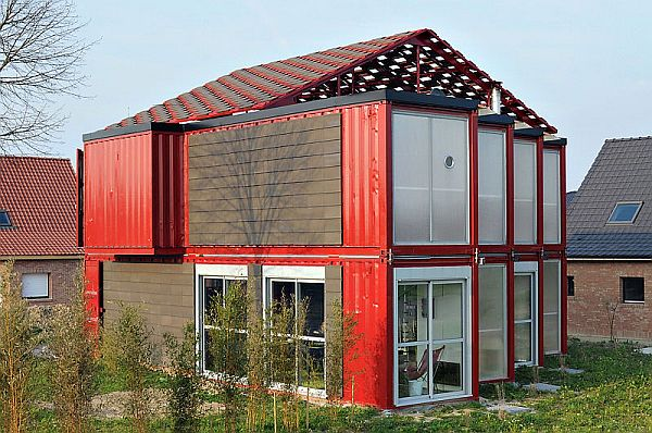 A Two Story House Made Of Eight Shipping Containers With