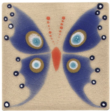 Xenia Taler Butterfly Tile Tan U0026 Blue