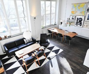 Modern loft with black and white accents