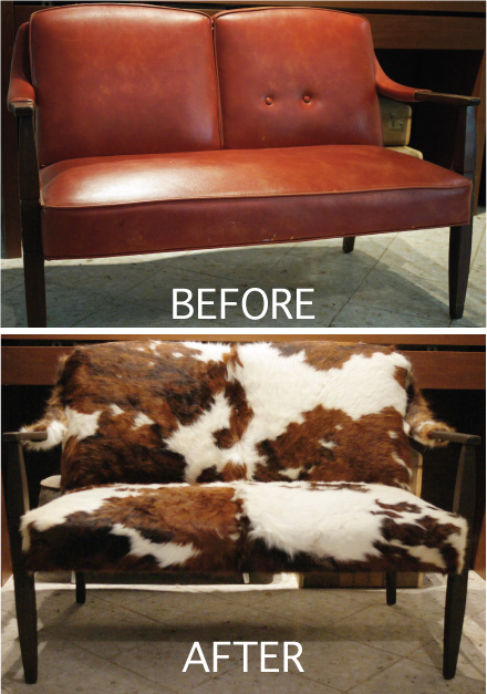 Before and after couch from leather to cowhide