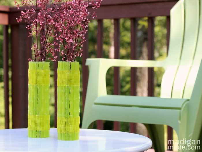 DIY neon straw vase