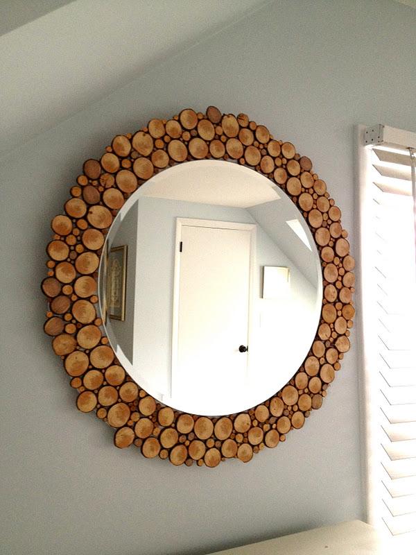 Decorative Birch Slice Mirror