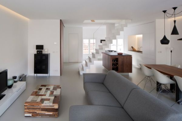 White Duplex Apartment Renovation In Amsterdam