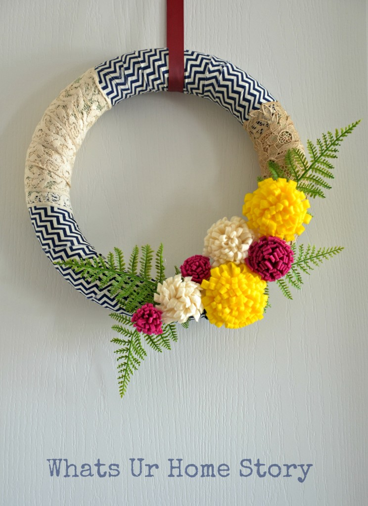 Fabric colorful wreath