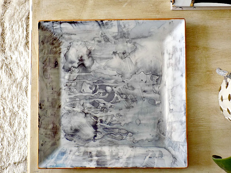 Faux marble tray