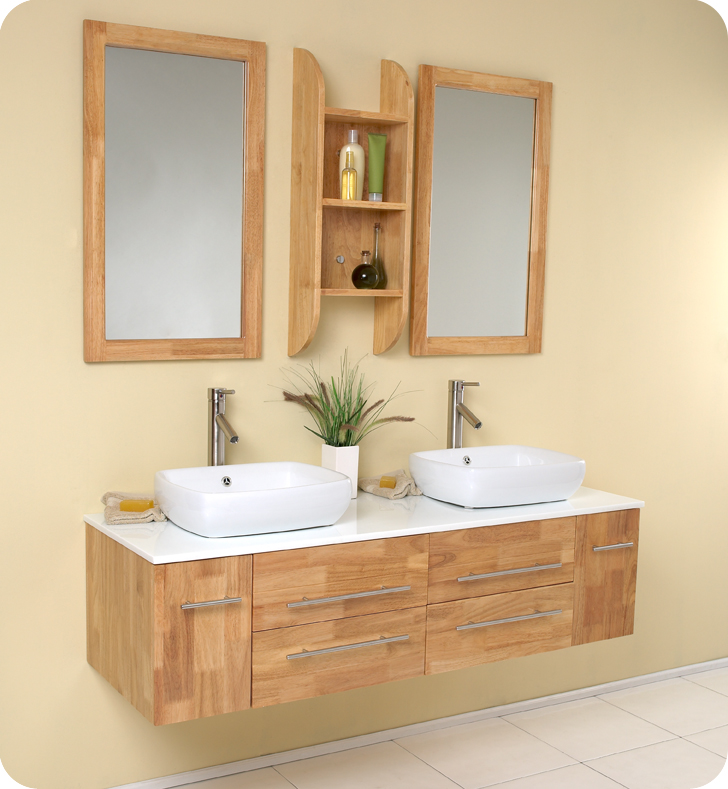 Captivating Fresca Bellezza Natural Wood Vessel Sinks Vanity