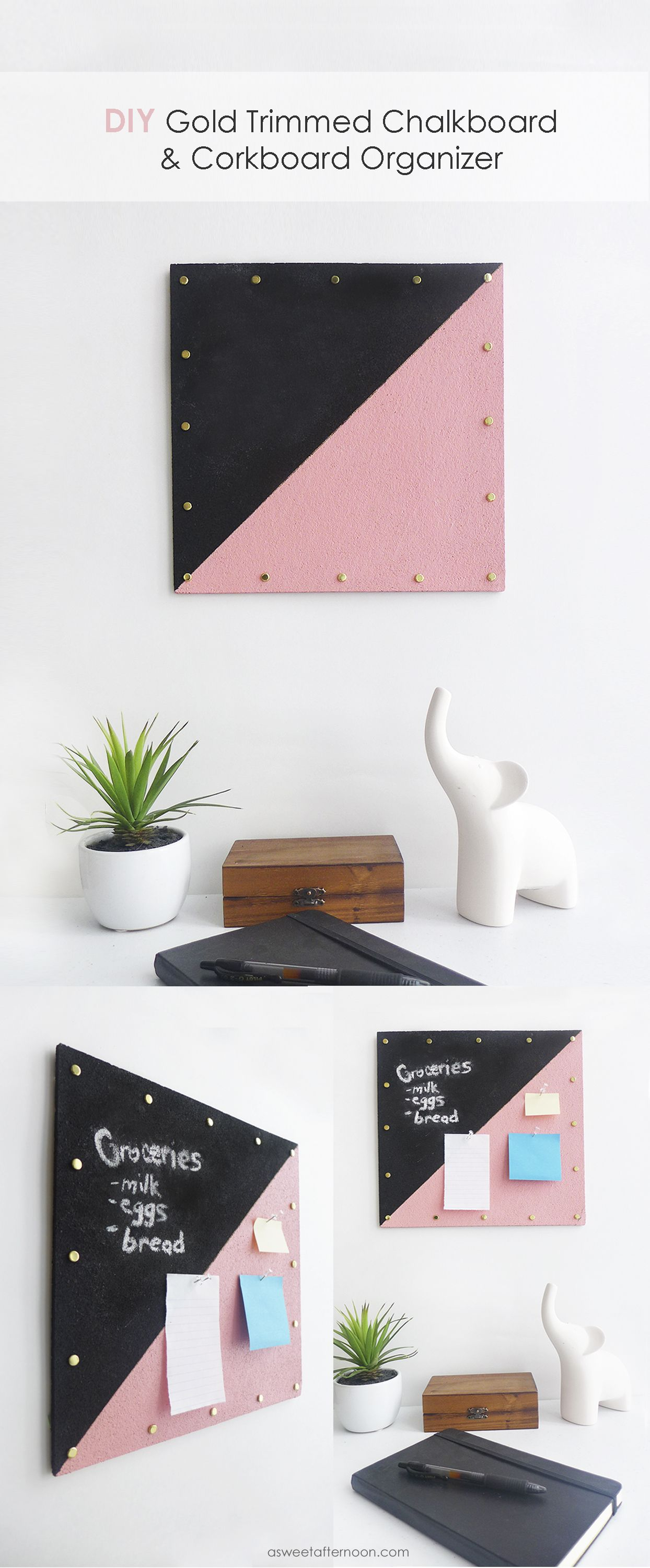 Gold trimmedt chalkboard and cork organzer