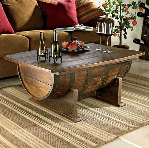 Elegant Vintage Oak Whiskey Barrel Coffee Table Idea