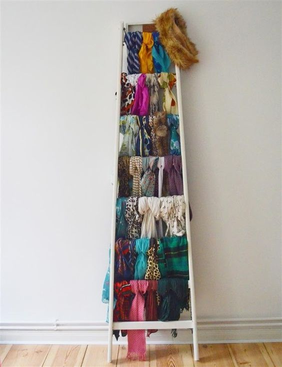 Ladder used for scarf storage