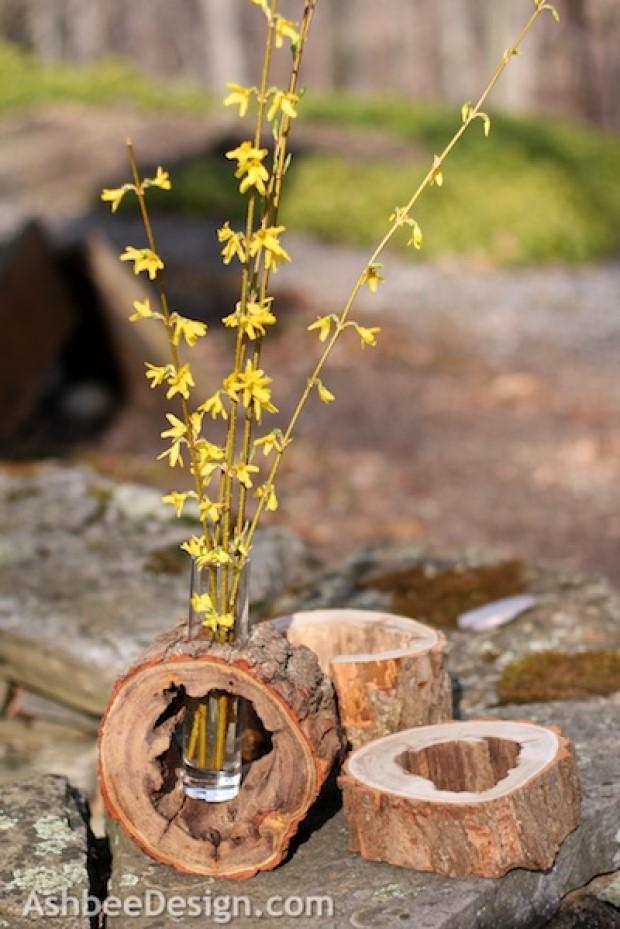 Log Slice Flower Vase Holder