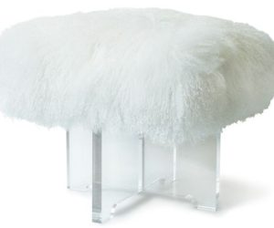 The playful and furry Mongolian sheepskin bench