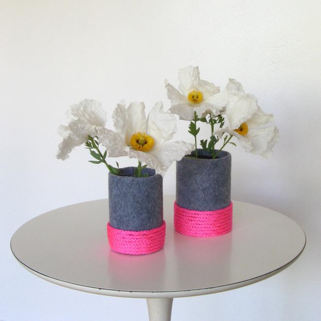 Neon and felt vase diy