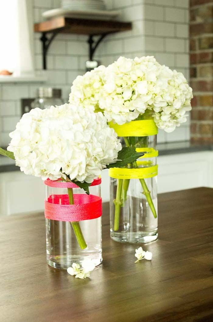 Neon striped vase diy