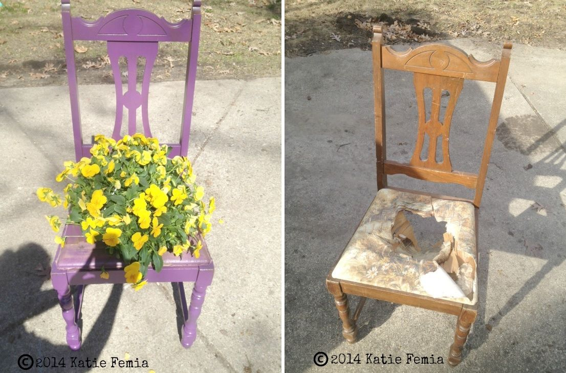 Old wood chair transformation